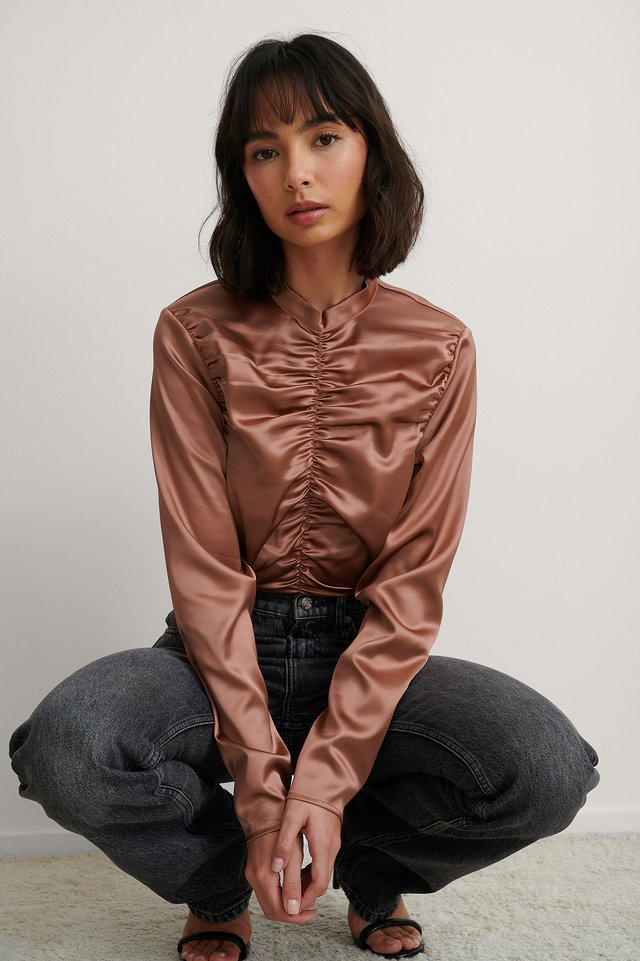 Pink Rose Ruched Satin Blouse