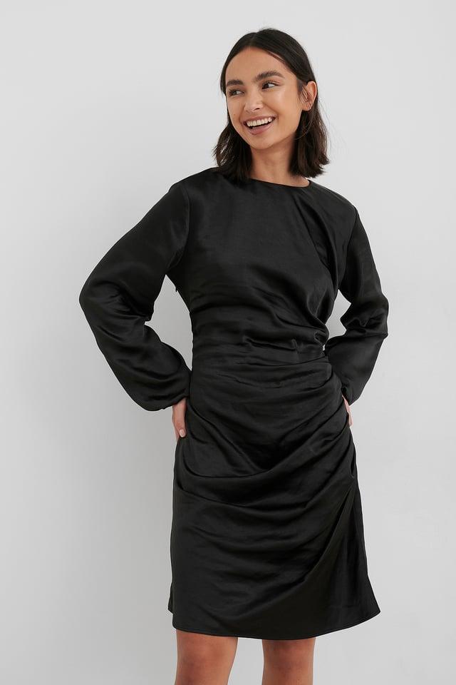 Ruched Satin Dress Black