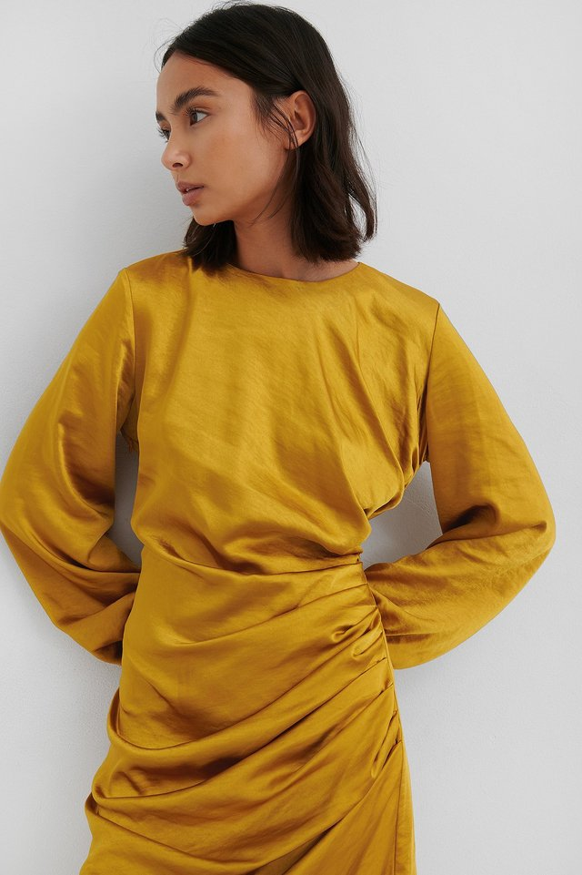 Ruched Satin Dress Yellow
