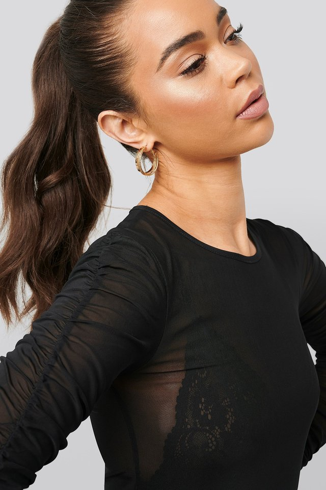 Ruched Sleeve Mesh Top Black