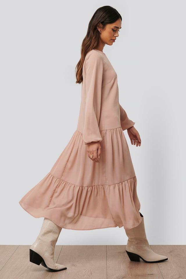 Ruffle Chiffon Dress Dusty Pink