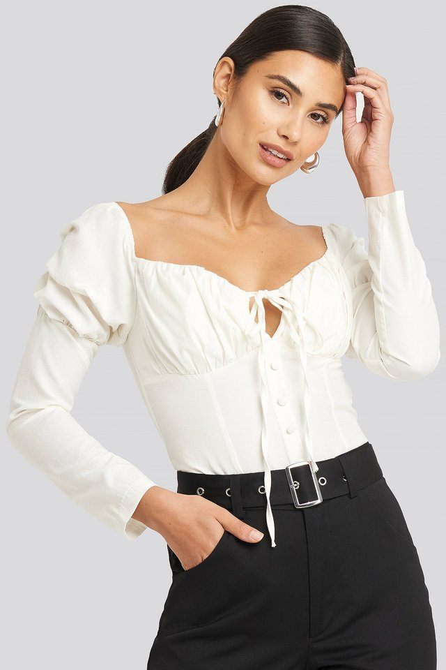 Ruffle Cup Blouse Ivory