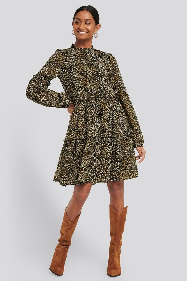 Leoprint Ruffle Detail Chiffon Dress