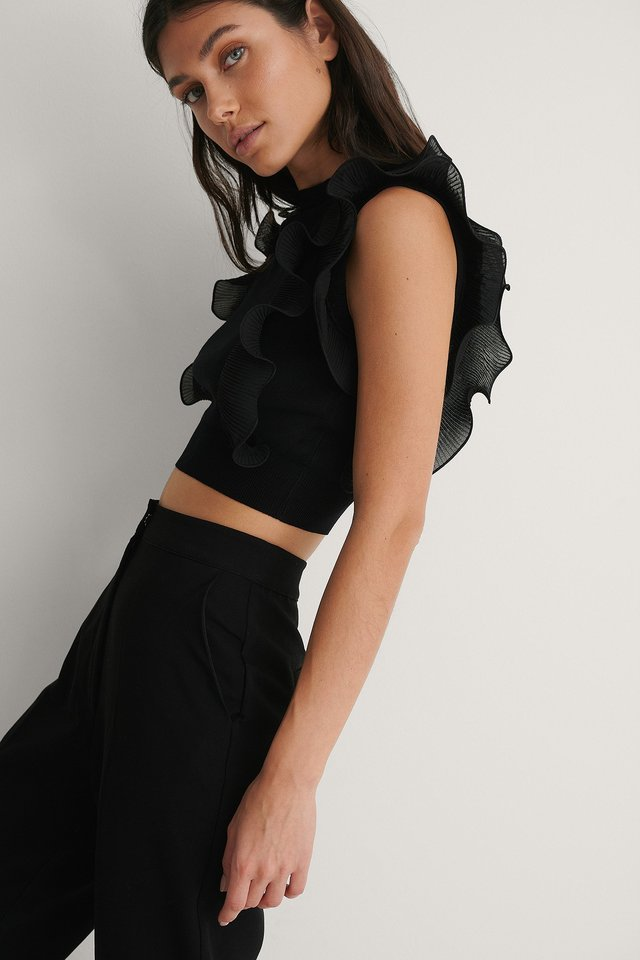 Black Ruffle Detail Knitted Top
