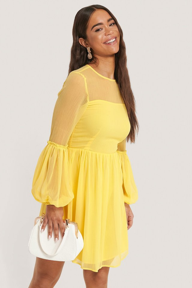 Ruffle Detail Mini Dress Yellow