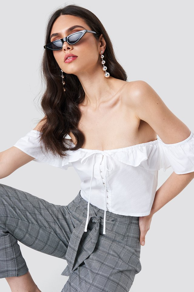Ruffle Detail Off Shoulder Crop Top White