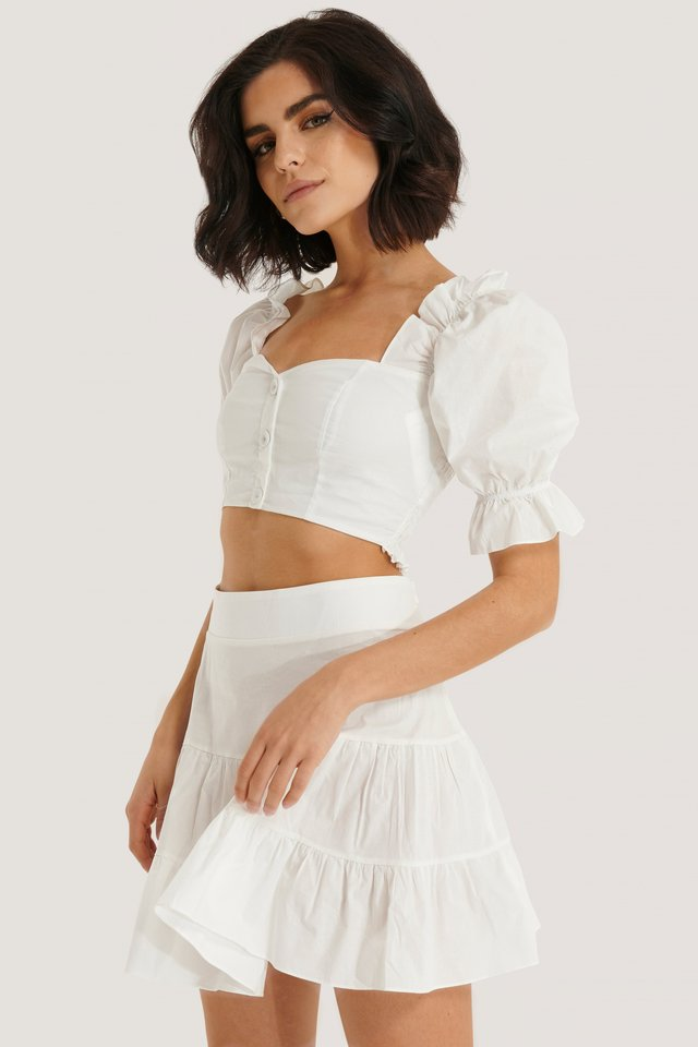 Ruffle Detail Top and Bottom Set White