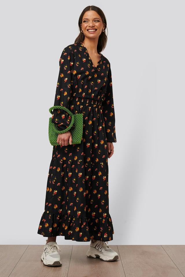 Ruffle Details Flowy Midi Dress Black/Orange