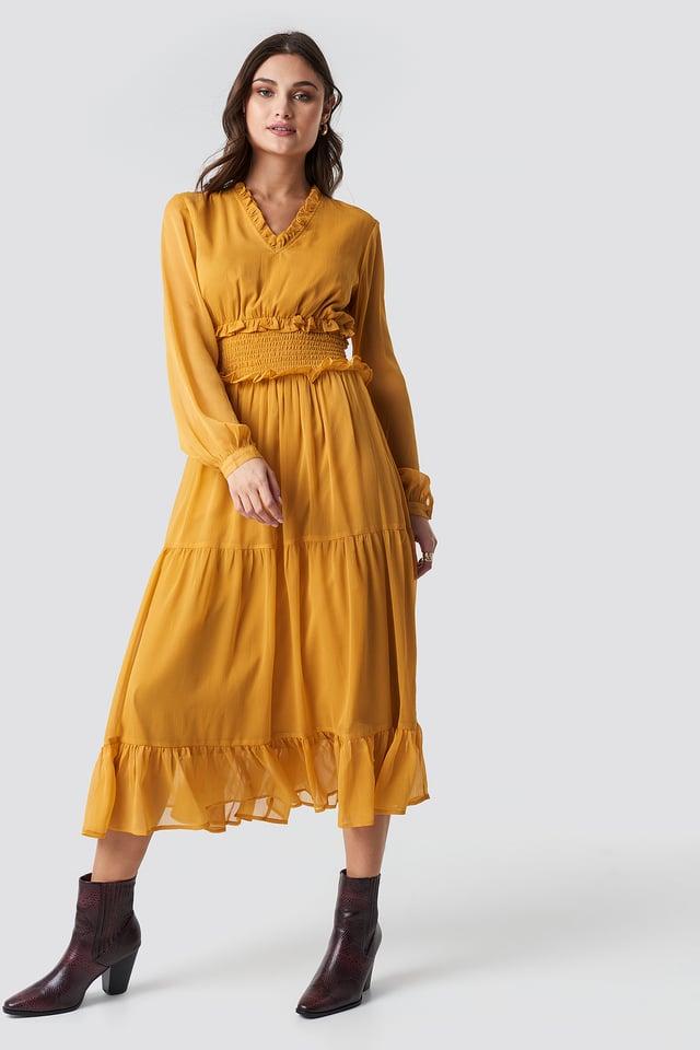 Ruffle Details Flowy Midi Dress Dark Mustard
