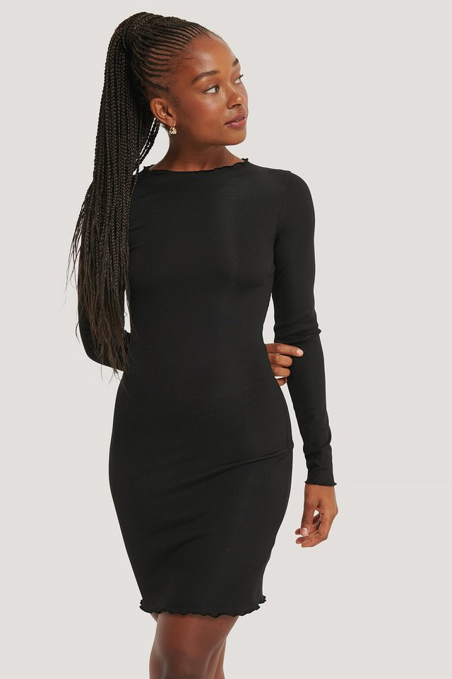 Ruffle Edge Rib Dress Black