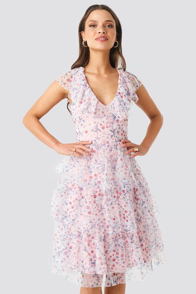 Ruffle Floral Midi Dress Floral Print