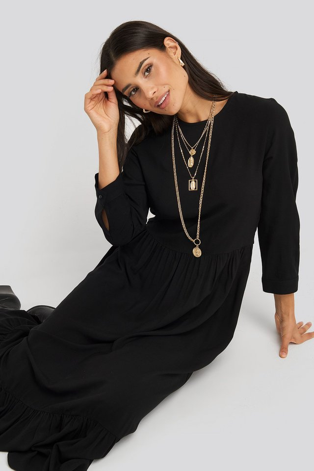 Ruffle Hem Round Neck Midi Dress Black