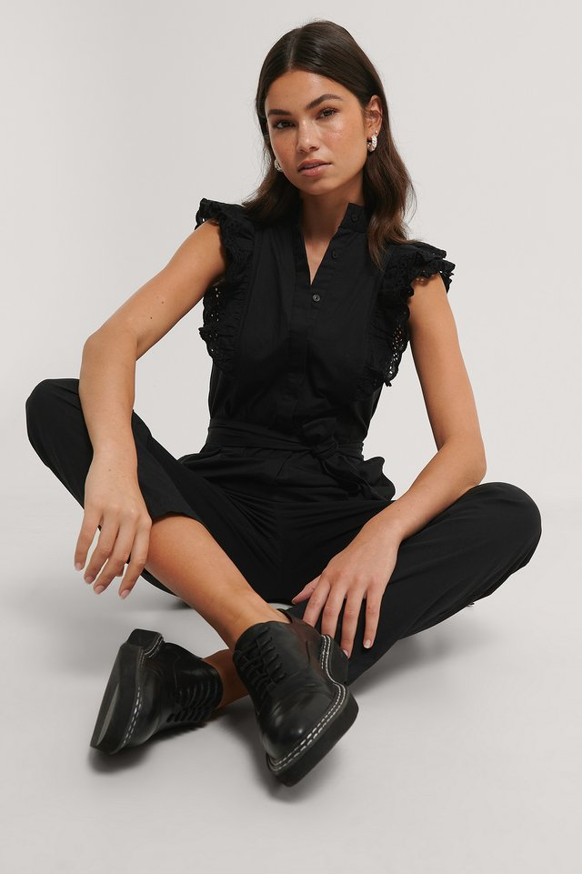 Ruffle Jumpsuit Black