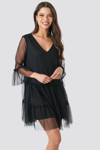 Black Ruffle Mesh Mini Dress