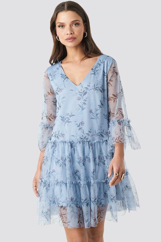 Blue Ruffle Mesh Mini Dress