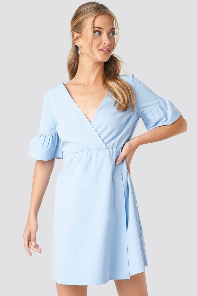 Ruffle Sleeve Mini Dress Blue