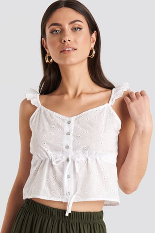 White Ruffle Strap Button up Cami Top