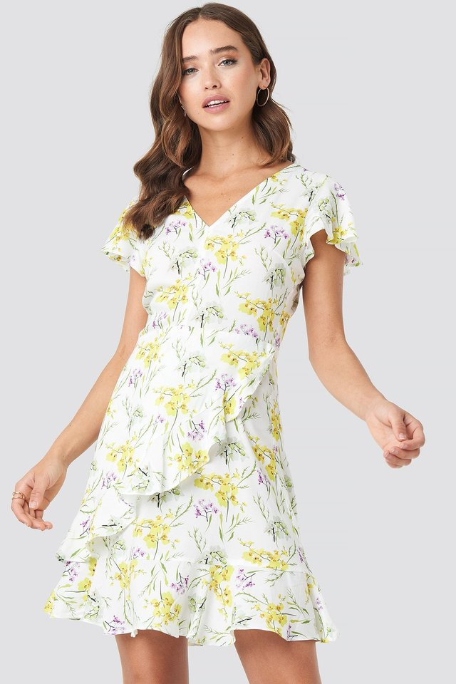 Ruffle Wrap Mini Dress NA-KD