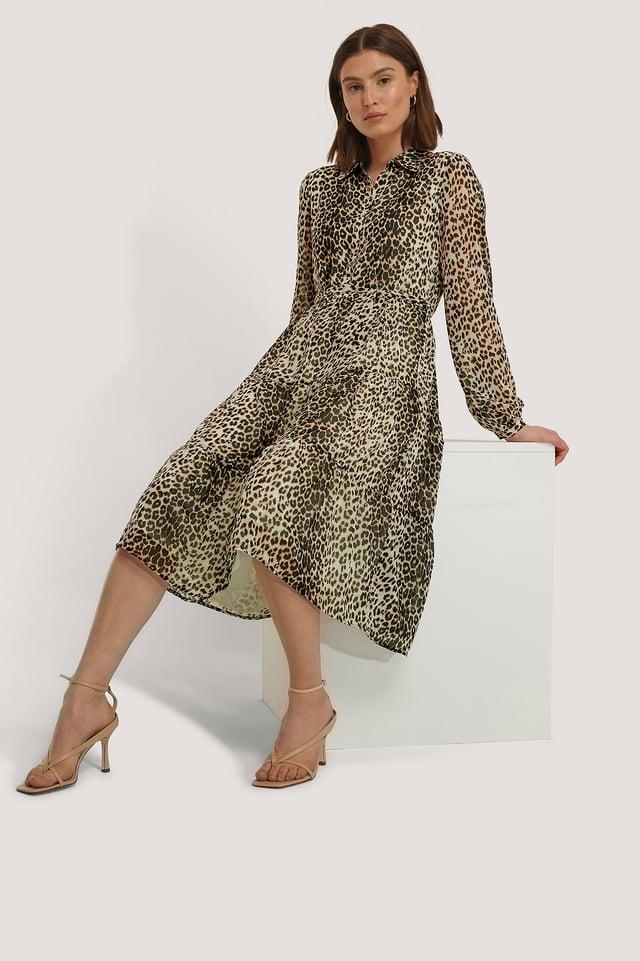 Ruffled Midi Dress Leopard