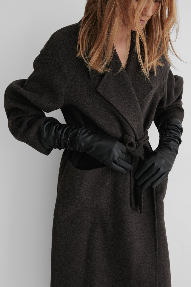 Ruffled Midi Gloves Black