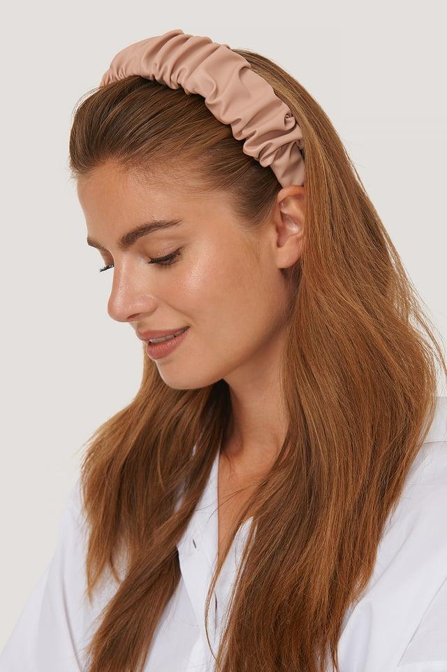Pink Ruffled PU Hair Hoop