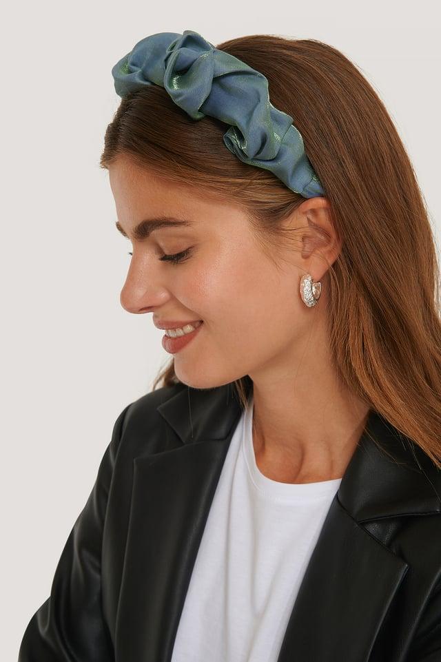 Satijnen Haarband Met Ruches Blue