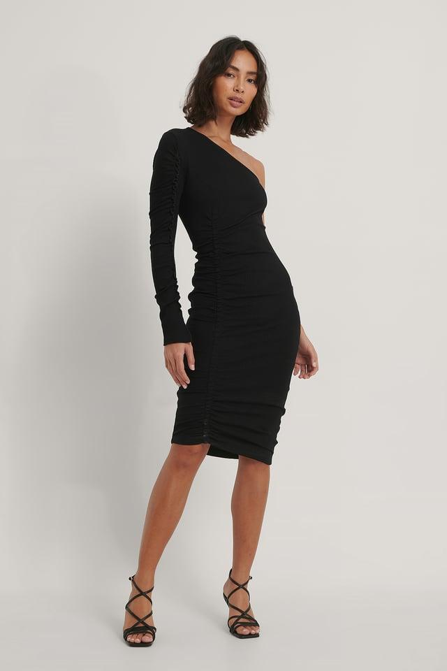 Black Rushed One Sleeve Dress