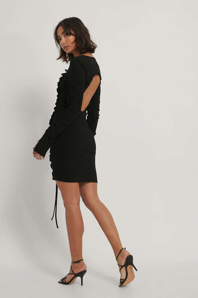 Black Rushed Open Back Jersey Dress