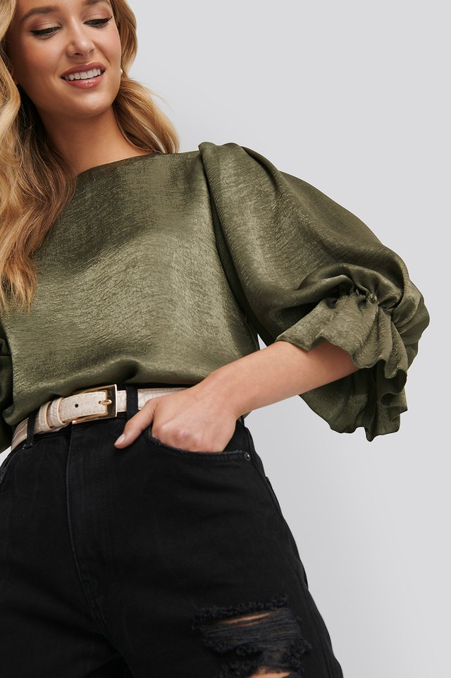 Khaki Satin Balloon Sleeve Blouse