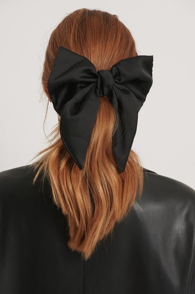 Satin Bow Hairclip Black