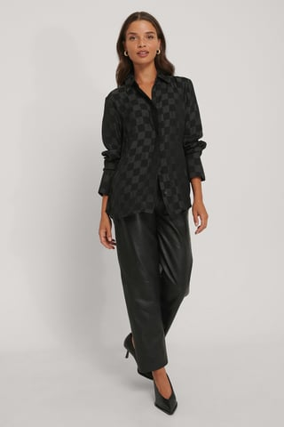 Black Satijnen Geruite Blouse