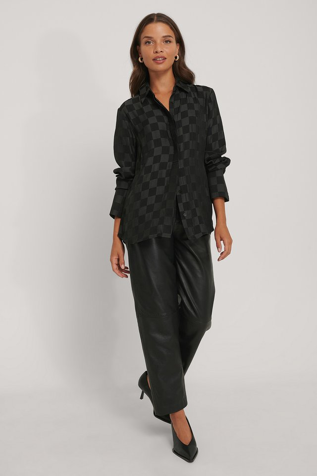 Black Satin Check Blouse