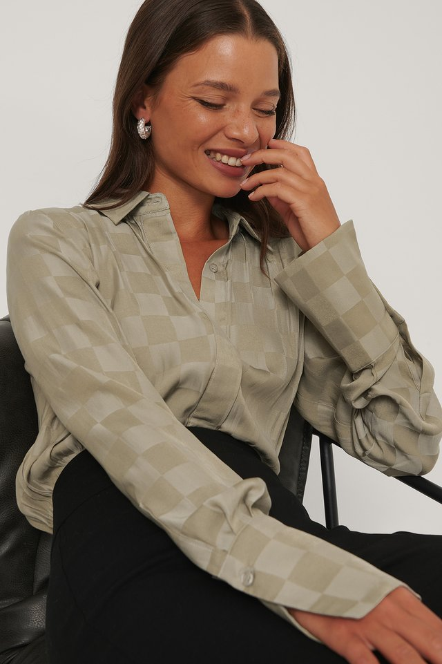 Nougat Satin Check Blouse