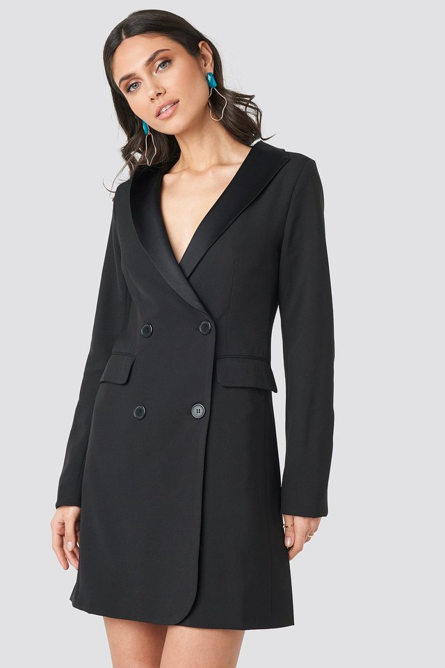 Satin Collar Blazer Dress Black