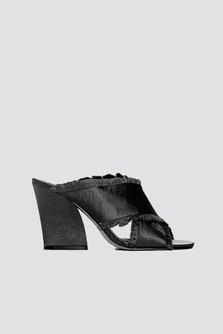 Black Satin Cross Mule Heels