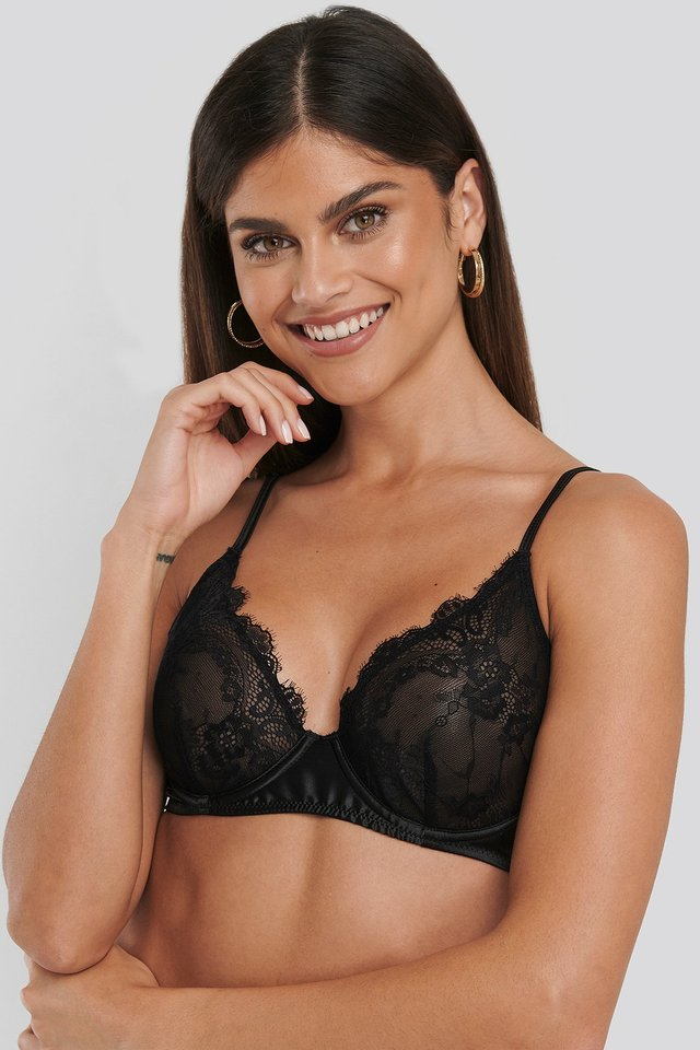 Satin Lace Cup Bra Black