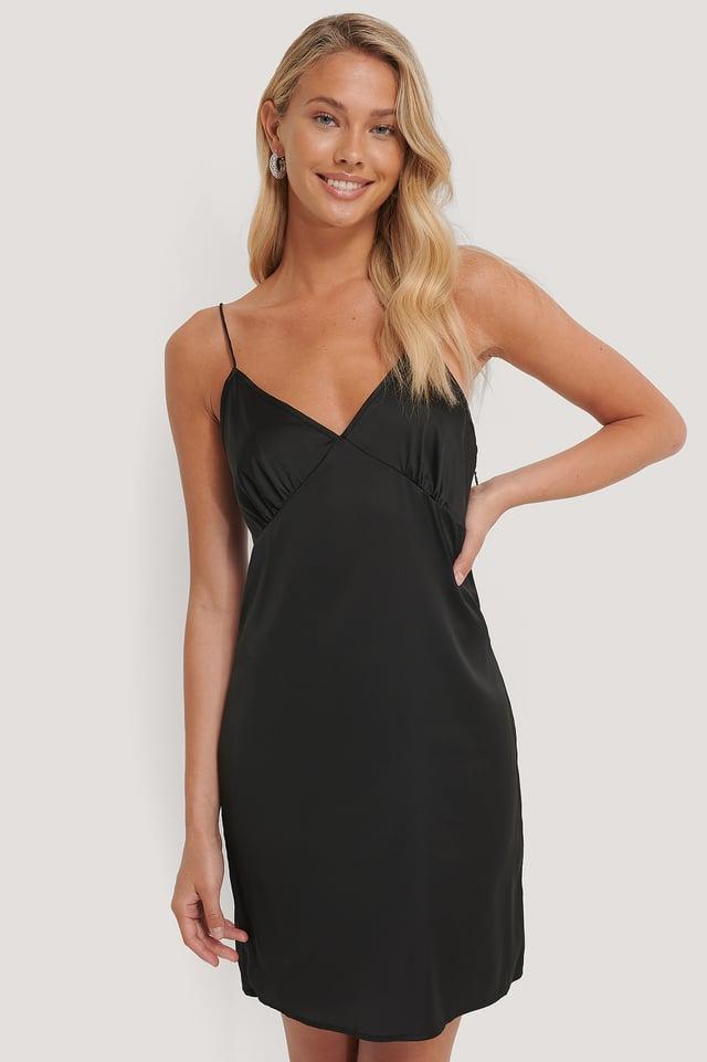 Black Miniklänning I Satin