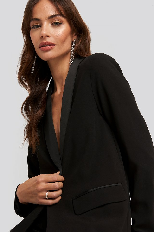 Satin Detail Blazer Black