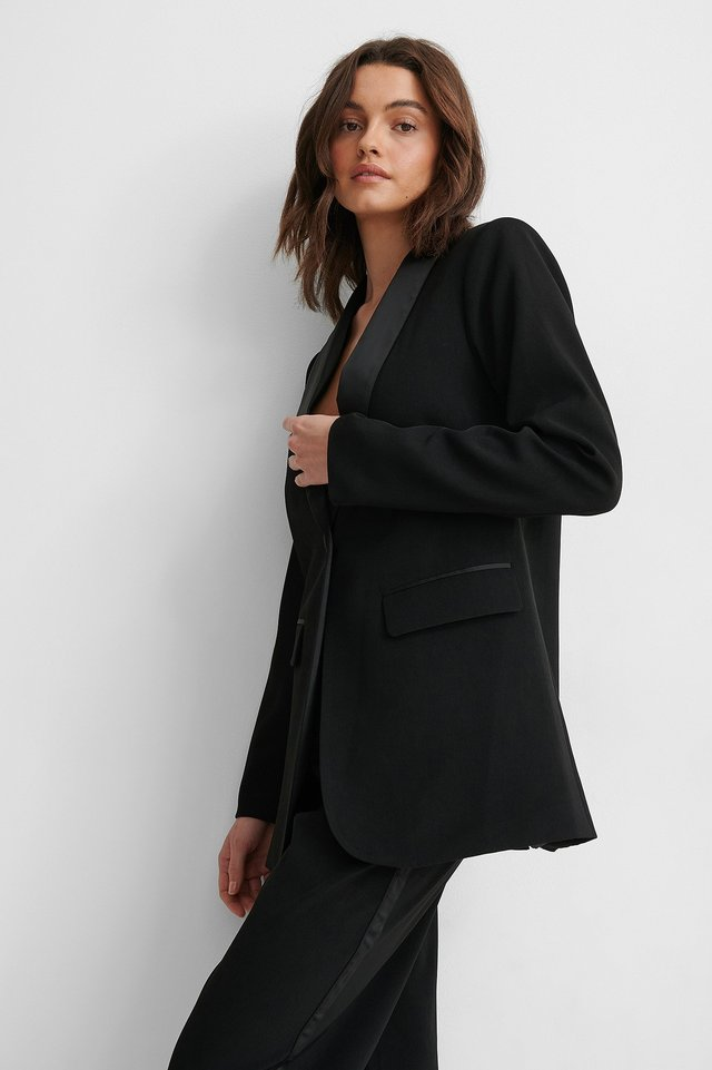 Black Satin Detail Blazer