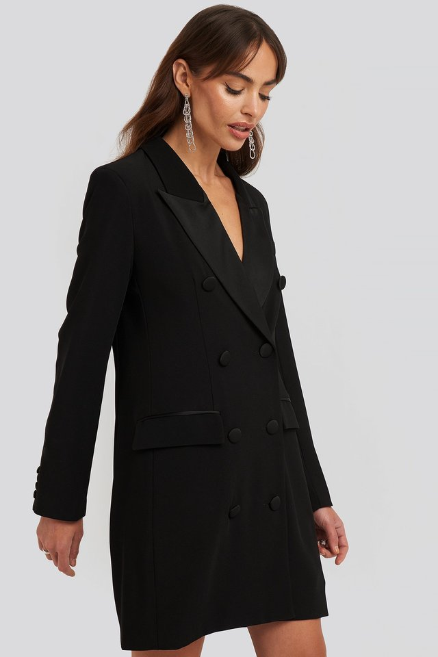 Satin Detail Blazer Dress Black