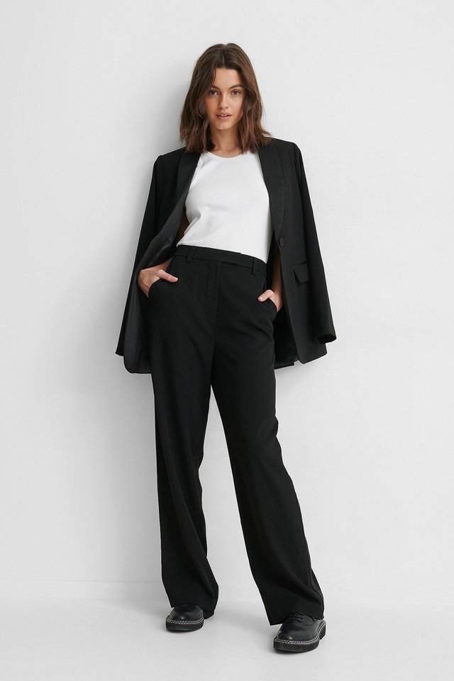 Black Satijnen Pantalon
