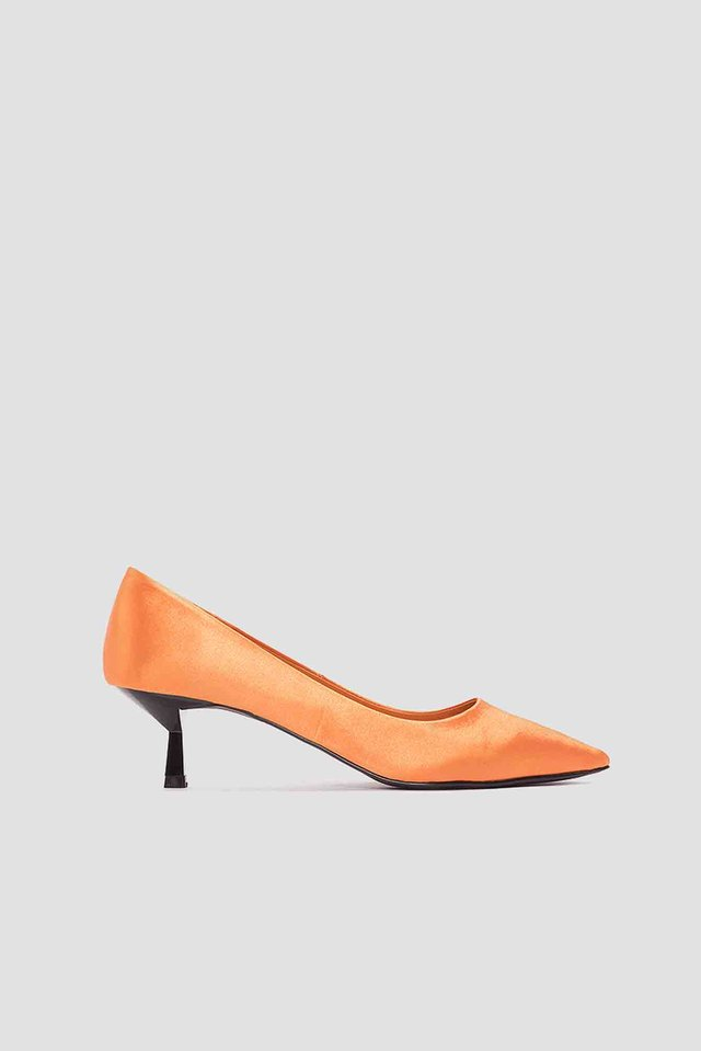 Satin Kitten Heel Pumps Orange
