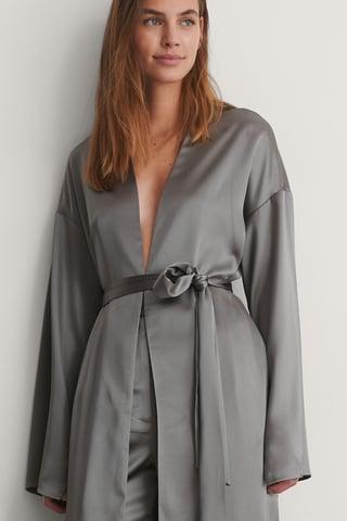 Grey Satin Maxi Length Robe