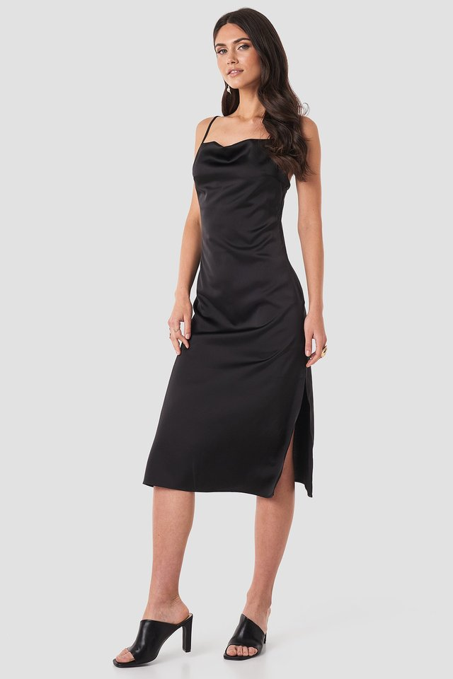 Satin Midi Slip Dress Black