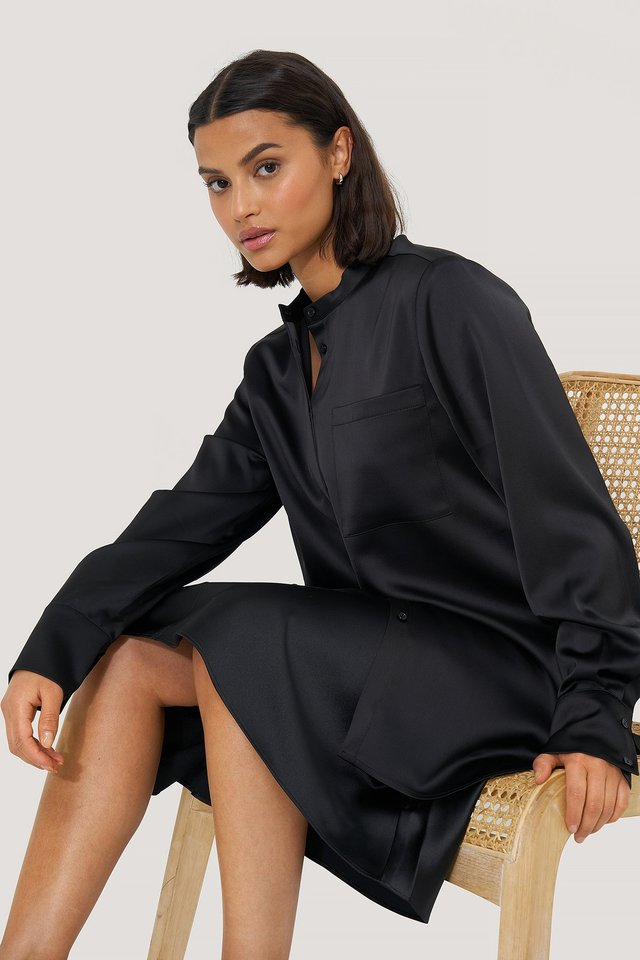 Black Satin Pocket Blouse
