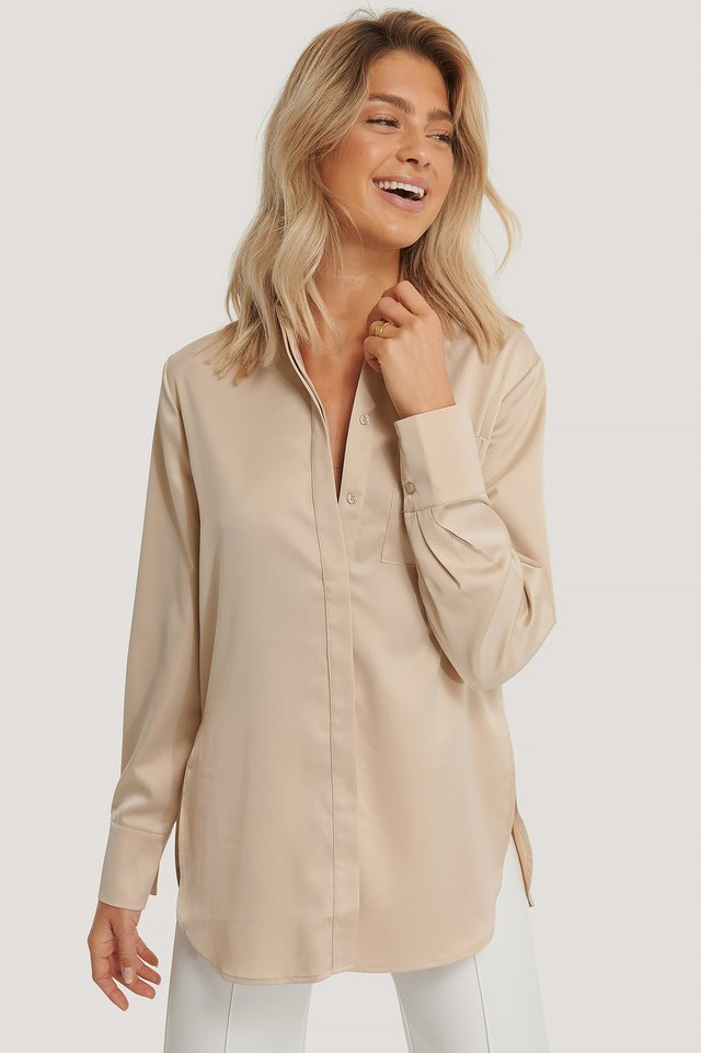 Satin Pocket Blouse Sand