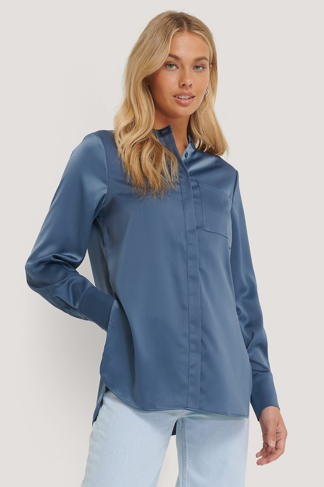 Satin Pocket Blouse Dusty Blue