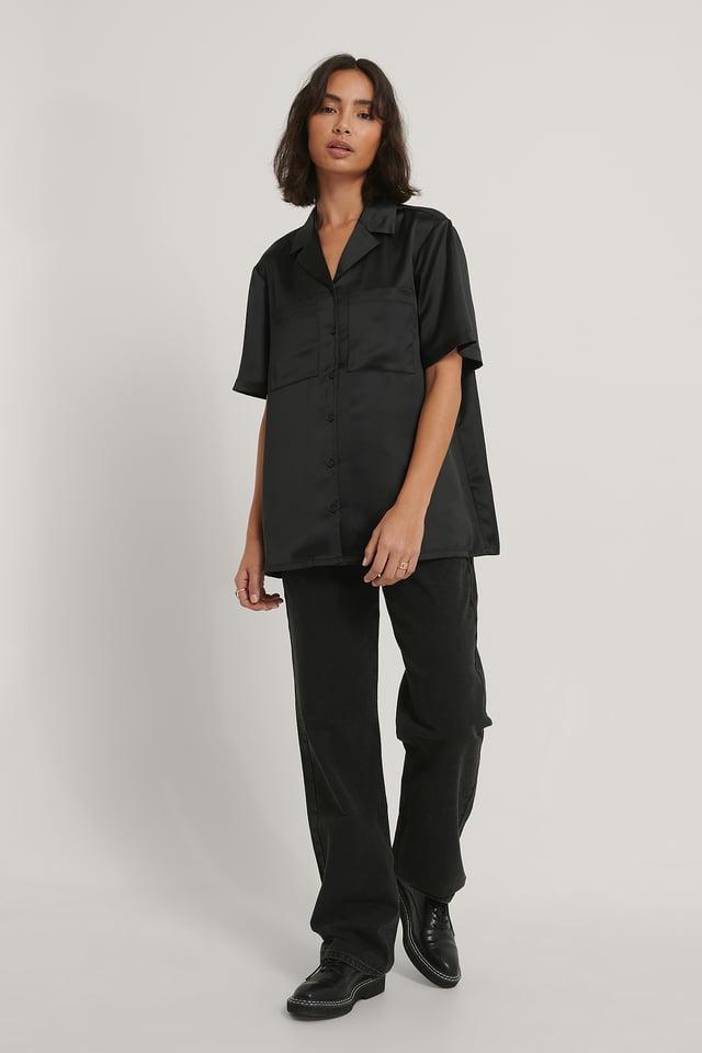 Black Satin Short Sleeve Shirt