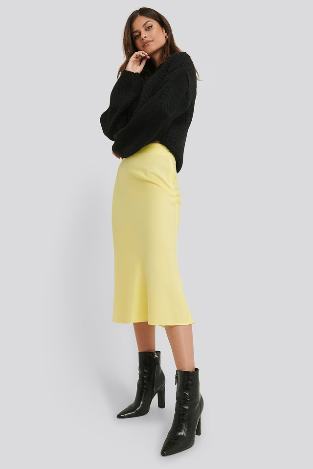 Satin Skirt Yellow