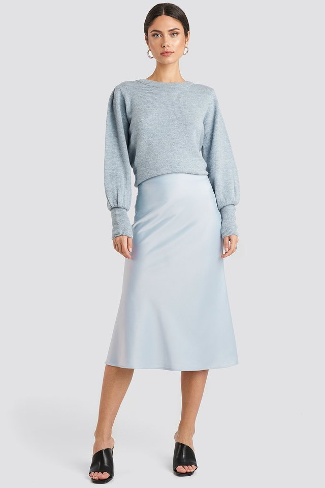Satin Skirt Light Blue